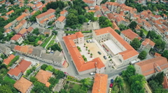Historical building Alkarski Dvori in Sinj, aerial shot Stock Footage
