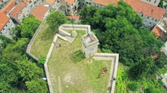 Fortress Kamicak in Sinj, aerial shot Stock Footage