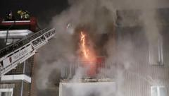 Intense fire building Stock Footage