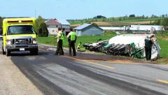 accident between tractor farm and tank truck - stock footage