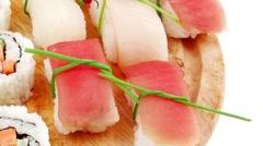Japanese traditional Cuisine - Maki Roll and Nigiri Stock Footage