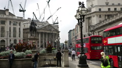 View of Bank station London from the Royal Exchange Stock Footage