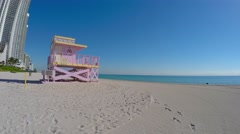 Miami Beach lifeguard hut 4k video Stock Footage