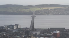 Timelapse of traffic on Tay Road Bridge from Dundee Law Scotland Stock Footage