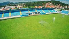 Soccer stadium, aerial shot Stock Footage
