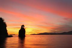 Siwash Rock Sunset, Stanley Park, Vancouver Stock Photos