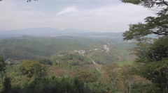 Aerial view from the top of Yoshino Mountain Stock Footage