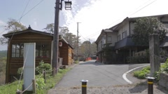 Pan - outside a ryokan at mount yoshino Stock Footage