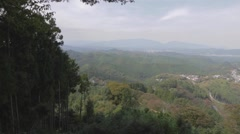 Aerial pan - top of Yoshino mountain Stock Footage