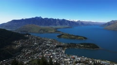queenstown skyline pan - stock footage