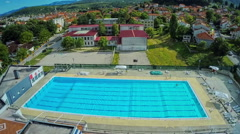 Swimming pool, aerial shot Stock Footage