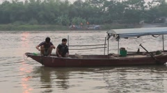 poor fishing family in Asia - stock footage