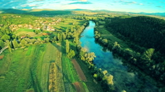 Cetina river near town Sinj in Croatia, aerial shot Stock Footage