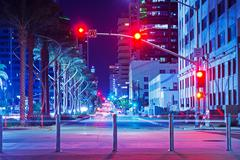 san diego city center intersection at night. - stock photo