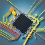electronic chip and circuit - stock illustration