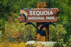 famous sequoia national park entrance sign. - stock photo