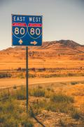 american interstate i-80 in nevada state. - stock photo