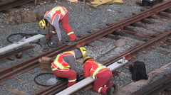 Workers repair aging Toronto transit subway signals and tracks Stock Footage