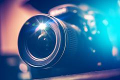 digital slr camera with wide angle lens. digital photography concept. - stock photo