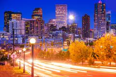 denver evening traffic - denver commute - stock photo