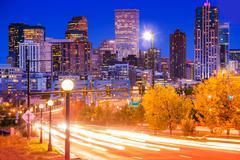 Denver evening traffic - denver commute Stock Photos