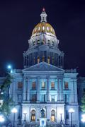 Stock Photo of colorado state capitol building at night.