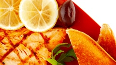 Grilled salmon and lemon Stock Footage