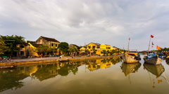 4k - Timelapse of old Hoi An city in Vietnam Stock Footage