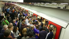 London underground subway crowds boarding timelapse Stock Footage