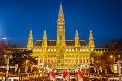 Rathaus and Christmas market in Vienna - stock photo