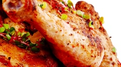 Savory food : roasted chicken Stock Footage