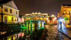 1080 - Hoi An Timelapse - Japanese bridge by night, Vietnam Stock Footage