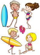 Sketches of the kids enjoying at the beach Stock Illustration