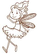 A plain sketch of a fairy Stock Illustration
