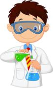 Boy cartoon doing chemical experiment Stock Illustration