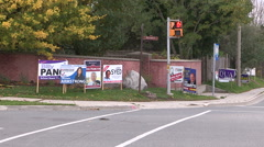 Clusters of election signs in Markham Ontario for municipal vote Stock Footage