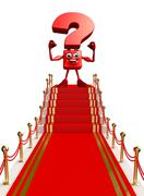 Question mark character with red carpet Stock Illustration