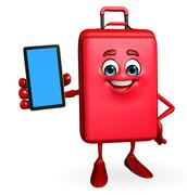 Travelling bag chatacter with mobile Stock Illustration