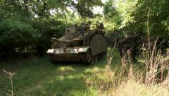 German soldiers in woods with tank armor WW2 - stock footage
