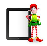 elves character with tab - stock illustration