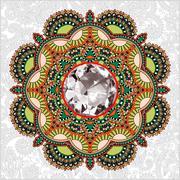 floral background with diamond jewel - stock illustration