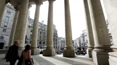 View towards Bank station from the Royal exchange building Stock Footage