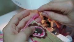 Sewing Tightening Serger Threads Stock Footage