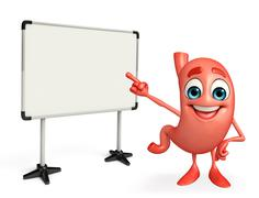 Cartoon character of stomach with display board Piirros