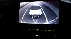 RV Rear Backup Camera View Towing Car While Driving Stock Footage