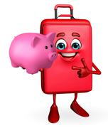 Travelling bag chatacter with piggy bank Stock Illustration