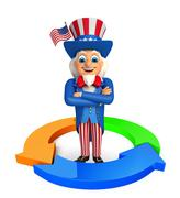 uncle sam with business graph - stock illustration