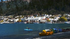 kayaker queenstown waterfront - stock footage