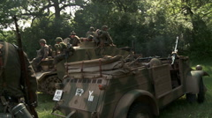 German Stug Tank and Troops Reverse WW2 Stock Footage