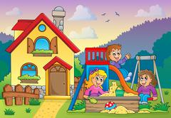Stock Illustration of children playing near house theme - illustration.